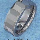 TUNGSTEN STEEL 8MM FACETED WEDDING BAND (p10617)