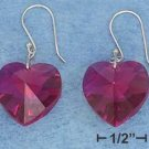 STERLING SILVER JEWELRY  FUCHSIA CRYSTAL HEART FRENCH WIRE EARRINGS  (p10837)