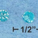 STERLING SILVER JEWELRY HP LIGHT BLUE CZ MINI POST EARRINGS  (p10050)