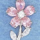 STERLING SILVER JEWELRY HP RHODIUM PLATED PINK AND CLEAR CZ FLOWER PENDANT (p10035)
