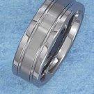 TUNGSTEN STEEL 8MM WEDDING BAND W/ SEGMENTED 3MM BRUSHED CENTER STRIPE (p10615)