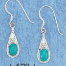 STERLING SILVER JEWELRY TEARDROP SYNTHETIC TURQUOISE FRENCH WIRE EARRINGS  (xx6201)