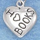 """STERLING SILVER JEWELRY 13MM """"I HEART BOOKS"""" HEART CHARM (p10324)"""