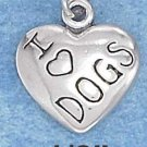 "STERLING SILVER JEWELRY ANTIQUED 13MM ""I HEART DOGS"" HEART CHARM  (p10326)"