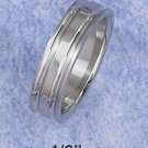 STERLING SILVER JEWELRY  SATIN 5MM MEN'S BAND RING W/THIN LIP ON TOP & BOTTOM (sr2816)