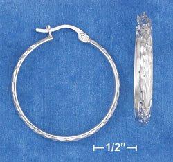 "STERLING SILVER JEWELRY HP 1 1/4"" HOOP EARRING WITH LASER DIAMOND CUTS (ea3476)"