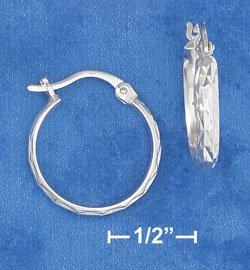"""STERLING SILVER JEWELRY HP 3/4"""" HOOP LASER DIAMOND-CUT EARRINGS W/ FRENCH LOCKS  (ea3464)"""