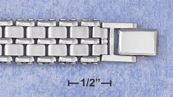 """STAINLESS STEEL 8"""" WATCH BAND BRACELET W/DOUBLE ROW SATIN LINKS (br2815)"""