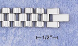 """STAINLESS STEEL 8"""" WATCH BAND BRACELET W/OFFSET LINKS IN 3 ROWS (br2816)"""