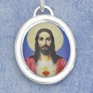 STERLING SILVER JEWELRY  21MM HP COLORED JESUS OVAL PENDANT (ch3589)