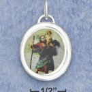STERLING SILVER JEWELRY 21MM HP COLORED ST.CHRISTOPHER OVAL PENDANT (ch3591)