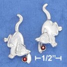 STERLING SILVER JEWELRY PLAYFUL KITTY POST EARRINGS  (ea3739)