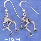 STERLING SILVER JEWELRY 12X17MM MOVEABLE FROG FRENCH WIRE EARRINGS (ea3723)