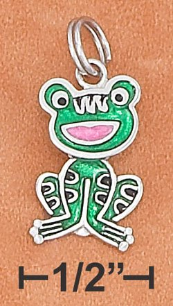 STERLING SILVER JEWELRY RP 11X16MM ENAMEL FROG CHARM WITH MOVEABLE HEAD & BODY (ch3685)