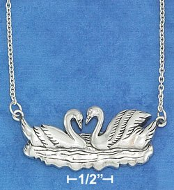 """STERLING SILVER JEWELRY 16""""-18"""" ADJUSTABLE 19X39MM SWIMMING SWANS NECKLACE (nk1131)"""