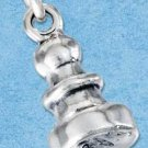 STERLING SILVER JEWELRY THREE DIMENSIONAL CHESS PAWN CHARM (P11634)