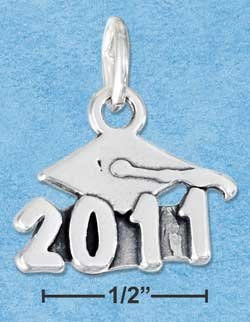 """STERLING SILVER JEWELRY MORTARBOARD WITH """"2011"""" CHARM {P11601}"""