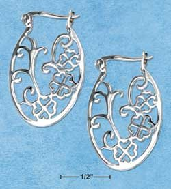 STERLING SILVER JEWELRY FLAT OVAL CLOVER FILIGREE HOOP EARRINGS WITH FRENCH LOCKS {P11585}