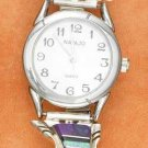 STERLING SILVER JEWELRY LADIES SOUTHWEST WATCH WITH MAGENTA, OPAL AND ONYX ON STRETCH BAND {WA72}