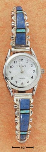 STERLING SILVER JEWELRY LADIES SOUTHWEST WATCH WITH LAPIS AND LAB OPAL TIPS ON STRETCH BAND {WA63}