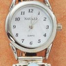 STERLING SILVER JEWELRY LADIES SOUTHWEST WATCH WITH LAB OPAL, LEAF TIPS AND STRETCH BAND {WA61}