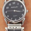 STERLING SILVER JEWELRY MENS SOUTHWEST WATCH WITH ONYX AND LAB OPAL INLAY AND STRETCH BAND {WA58}
