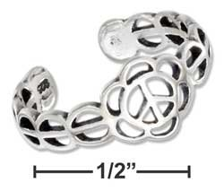STERLING SILVER JEWELRY PEACE SYMBOL TOE RING WITH CIRCLES BAND {P13414}