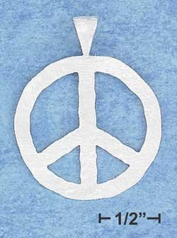 STERLING SILVER JEWELRY 30MM FLAT PEACE SIGN PENDANT WITH MATTE FINISH {P10925}