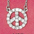 "STERLING SILVER JEWELRY RP 16""-18"" ADJUSTABLE 10MM STATIONARY PEACE SIGN CABLE NECKLACE {P12150}"