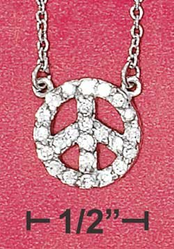 """STERLING SILVER JEWELRY RP 16""""-18"""" ADJUSTABLE 10MM STATIONARY PEACE SIGN CABLE NECKLACE {P12150}"""