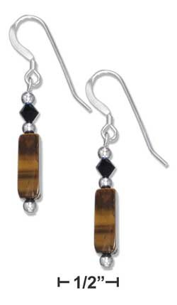 STERLING SILVER TIGER EYE BRICK EARRINGS WITH JET CRYSTAL ON FRENCH WIRES {p11453}