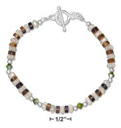 "STERLING SILVER  7.5"" TIGER EYE, CITRINE AND OLIVE AUSTRIAN CRYSTAL TOGGLE BRACELET {p11474}"