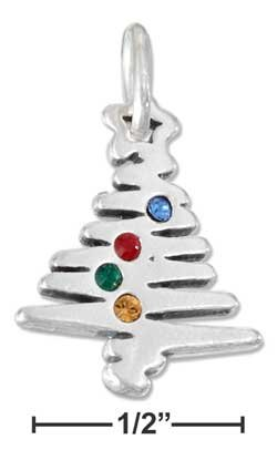 STERLING SILVER   CHRISTMAS TREE CHARM WITH SWAROVSKI CRYSTALS {p11596}