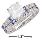 STERLING SILVER  RP 2 PC 8MM ROUND CZ ON CLEAR & BLUE CZ BAND WEDDING RING SET { p12217}