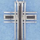 STAINLESS STEEL AND BLACK IRIDESCENT CROSS PENDANT {ch3749}