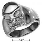 STAINLESS STEEL MENS HIGH POLISH SKULL RING {p13531}