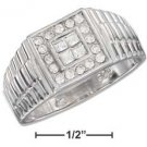 STERLING SILVER MENS RING W/ 4 PRINCESS CUT CLEAR CZ'S W/ ROUND CZ BORDER {sr1747}