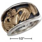 STERLING SILVER MENS BRONZE CLADDAGH HEART IN HANDS BAND RING  {sr1849}