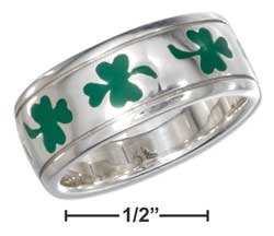 STERLING SILVER GREEN ENAMEL SHAMROCK BAND RING {sr2271}