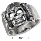 STERLING SILVER MENS SKULL AND BONES RING {sr3029}