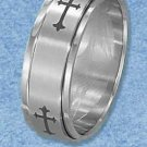 STAINLESS STEEL MENS 8MM BRUSH FINISH ROMAN CROSS SPINNER BAND {sr3117}