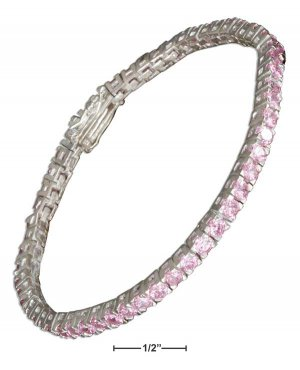 "STERLING SILVER 7"" 3.5MM WIDE PINK CZ TENNIS BRACELET (p11965)"