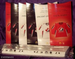 2006 Team Canada Mini Jerseys Complete Set   WITH DISPLAY STAND & WAYNE GRETZKY CARD