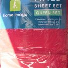 RED QUEEN FITTED SHEET SET - NEW - 180TC