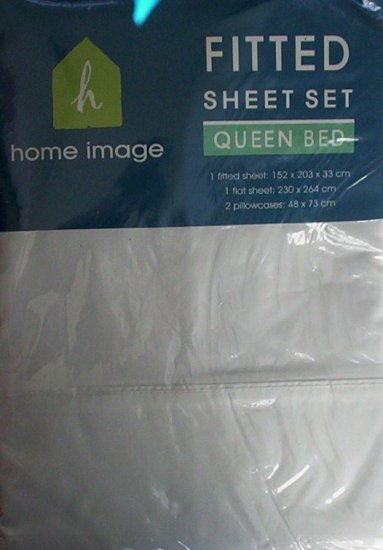 CREAM QUEEN FITTED SHEET SET - NEW - 180TC