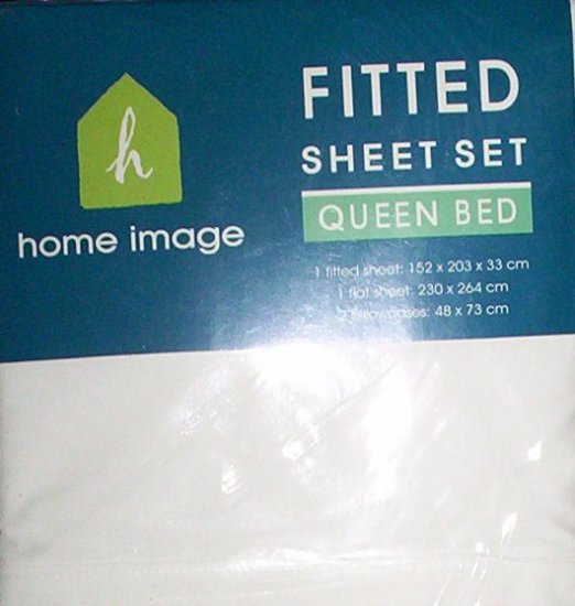 WHITE QUEEN FITTED SHEET SET - NEW - 180TC