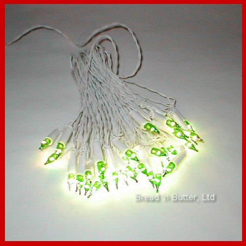 3  Genuine Italian Miniature Christmas 35 Light Green bulb sets, with White Cords!