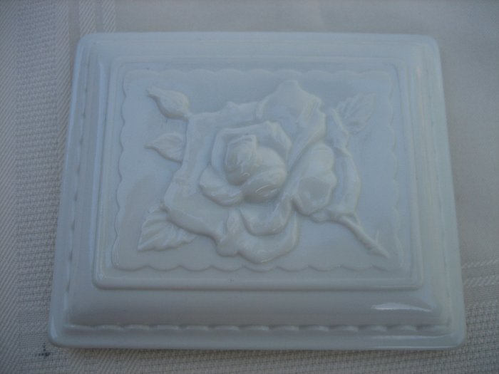 Vintage Collectible White Milk Glass Square Rose Box