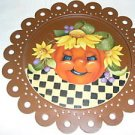 Hand Painted Scalloped Rusty Tin Plate Pumpkin New