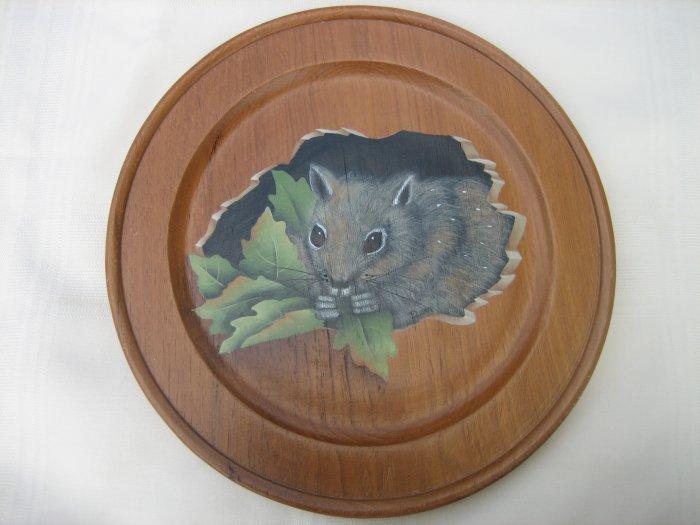 Hand Painted Wood Plate, Squirrel& Leaves, Susan M Ebel